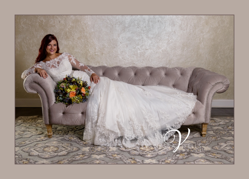 Destination wedding photographer. Bridal gown at The Grand Canadian Theater