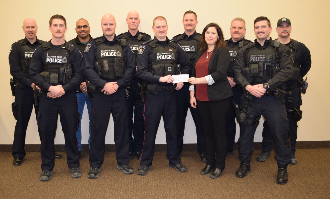 Chatham-Kent police officers from D platoon raised $1,380 for Changing Ways. Photo: CKPS.