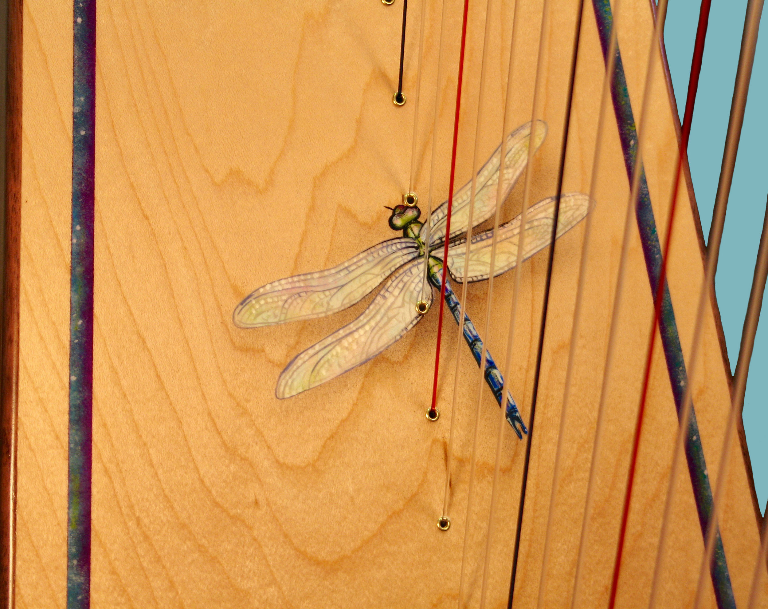 Custom dragonfly and border handpainted by Garen Rees on a harp soundboard. This is a one-of-a-kind harp design requested by a customer.
