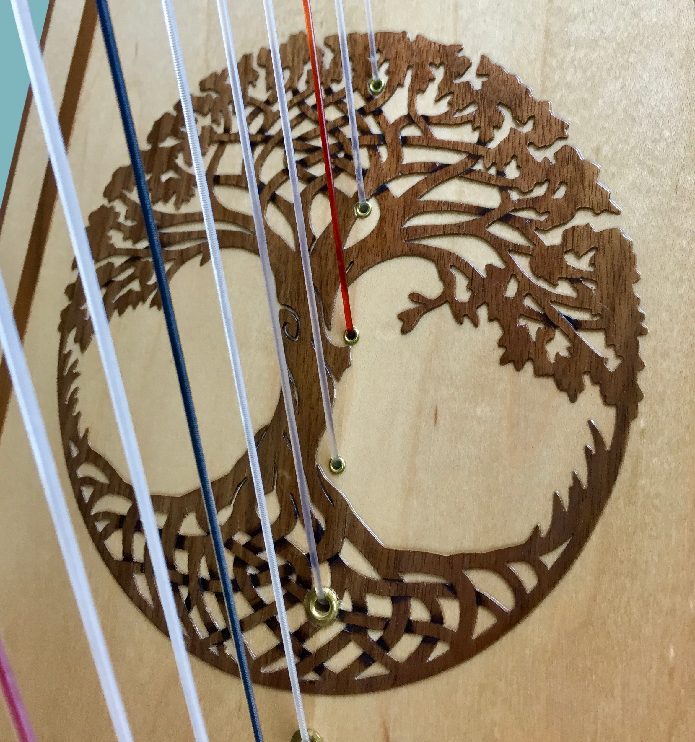 You can see the graduated string spacing here as the strings transition from nylon/nylon wrapped strings, which have more mass and need more room to vibrate, to the monofilament tempered nylon strings.