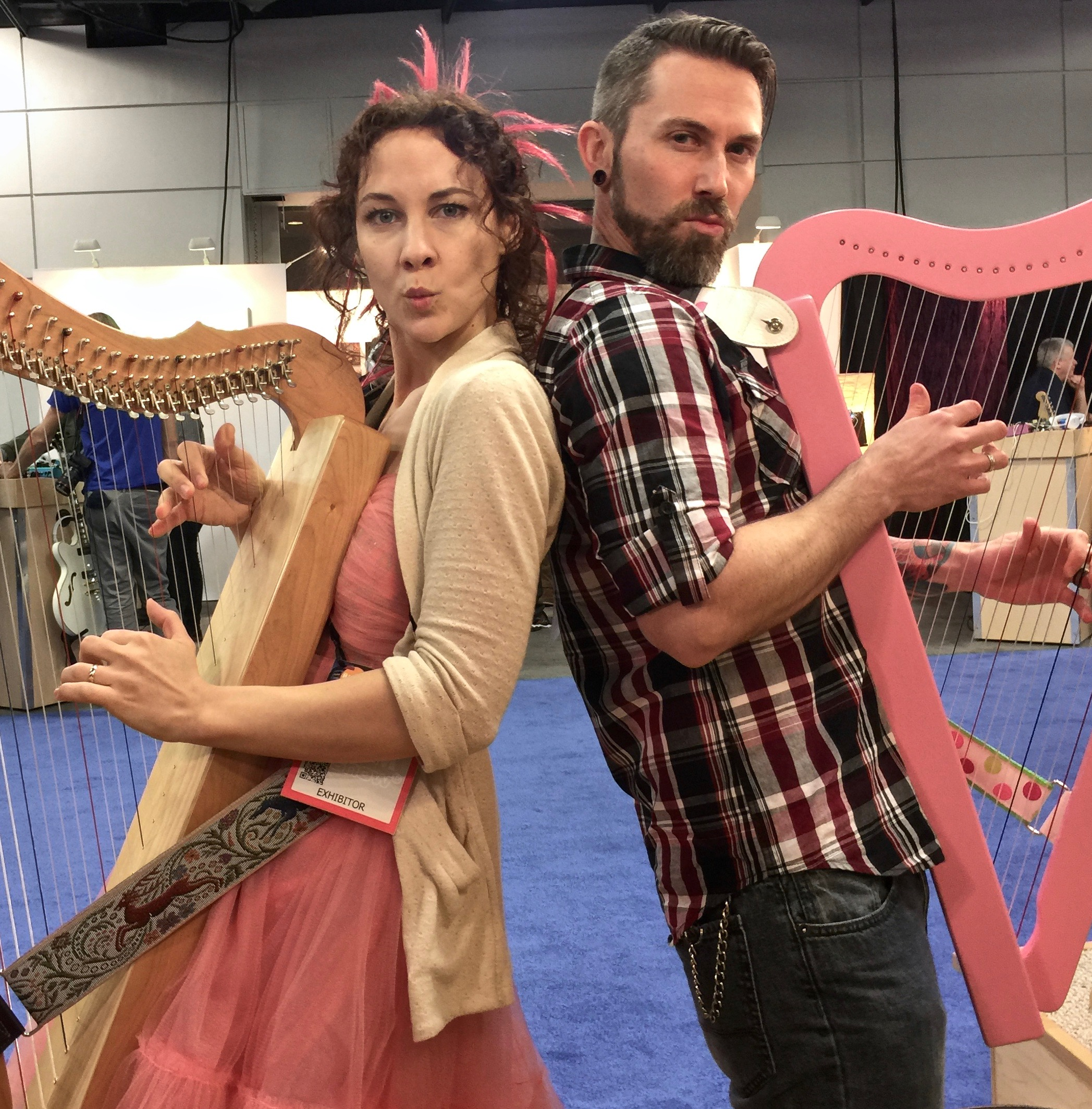 Harp - if you aren't having fun you aren't doing it right! Camille Fournier and Garen Rees at NAMM 2016.