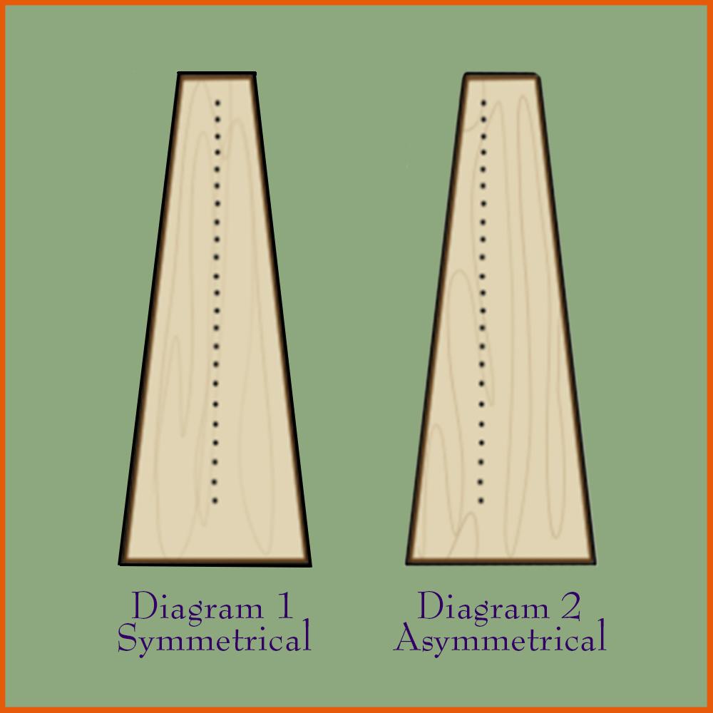 Symmetrical and asymmetrical harp soundboards.