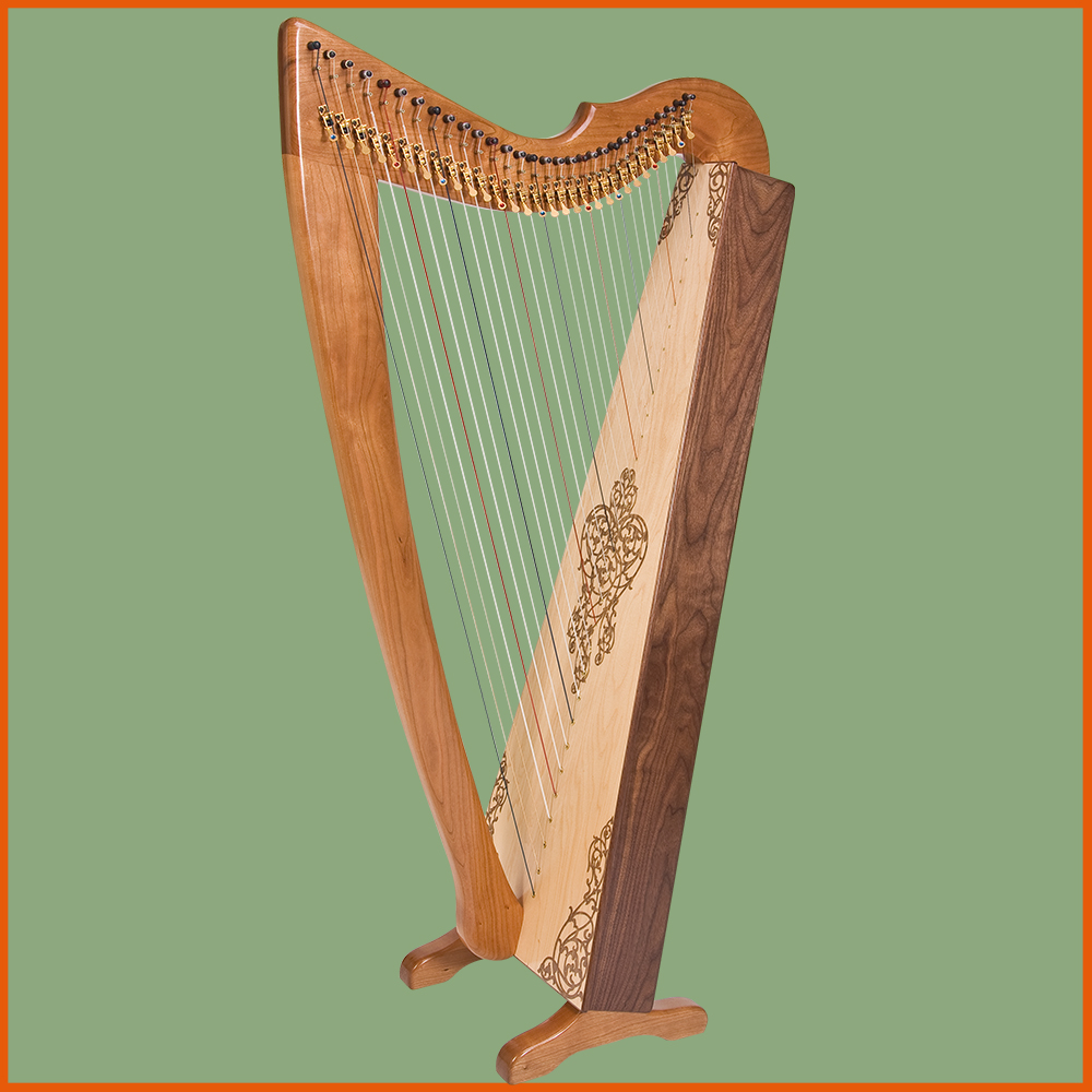 A Rees Shaylee Meadows Concert Line Harp, in cherry and walnut, with a Rees parallel-plano back.