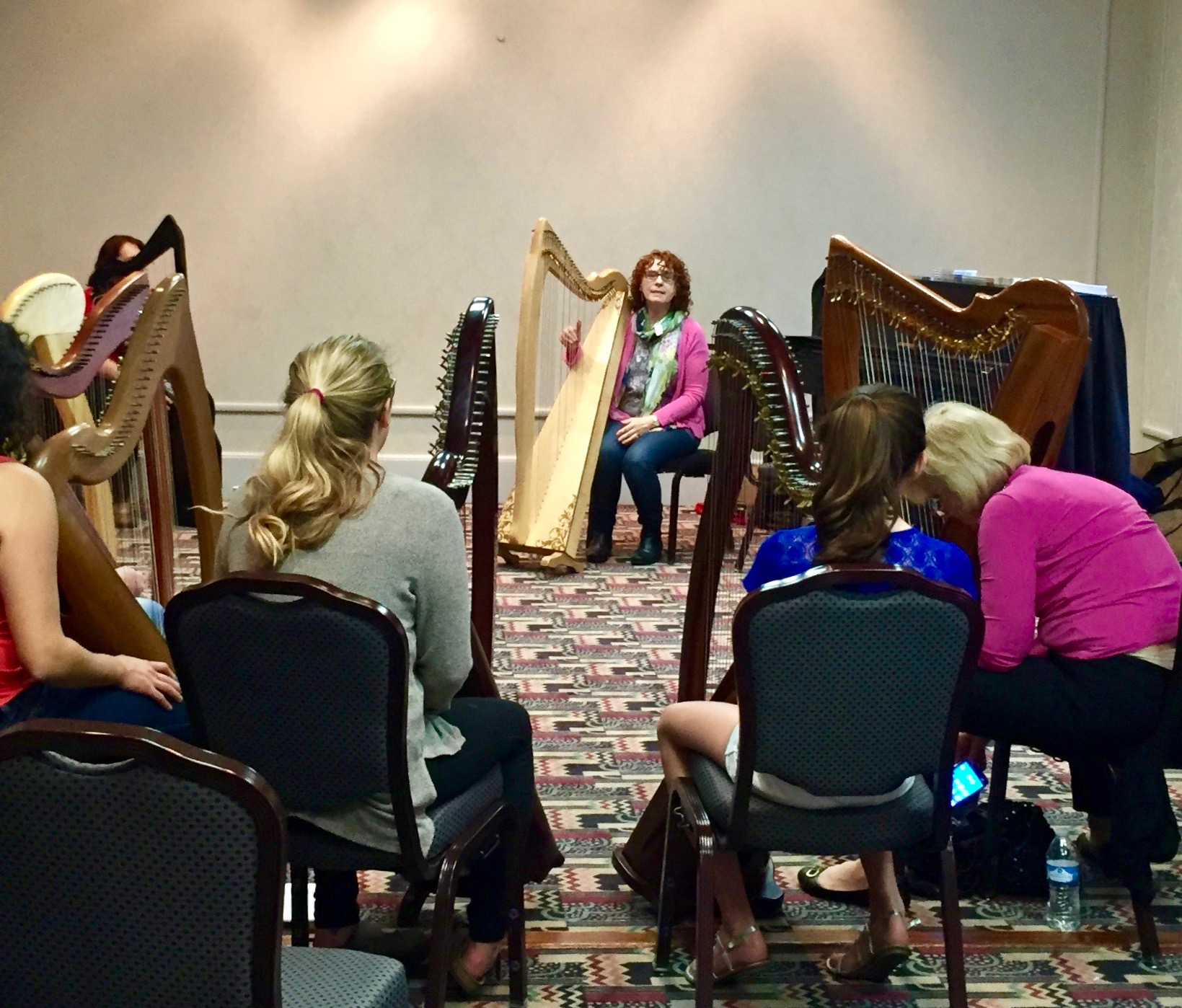 A harp workshop led by Máire Ní Chathasaigh on an Aberdeen Meadows Harp.