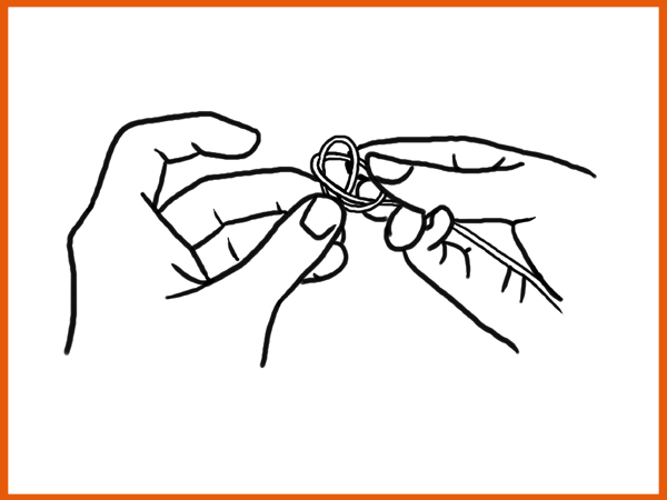 Tying a Harp Knot Step C - Pass the Second Loop Over the First