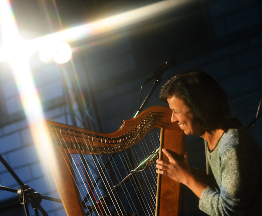 Jana Bauerova plays her Shaylee Meadows Harp at a festival.
