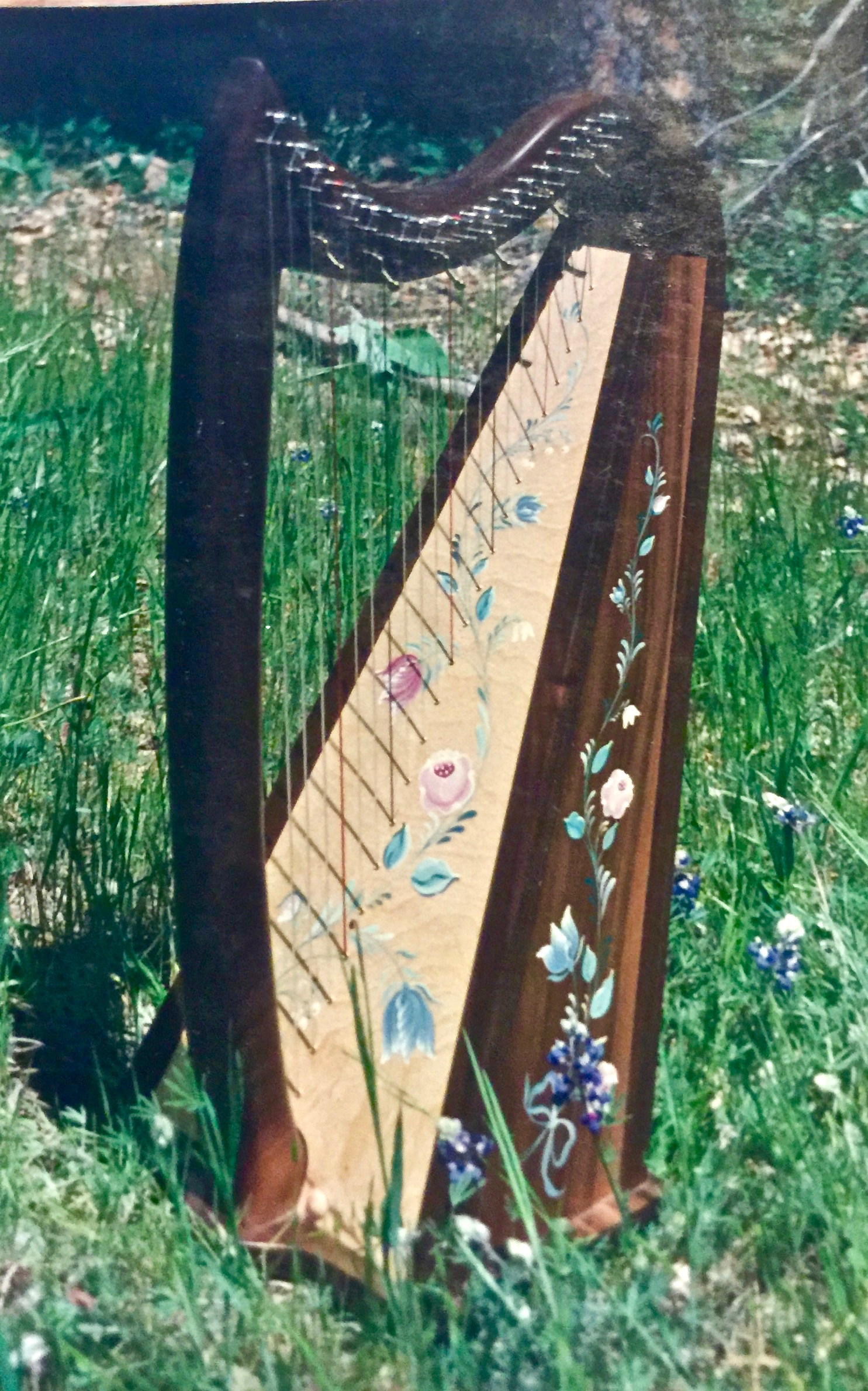 Kelty Meadows Harp with tole painting by Lacey Rees.