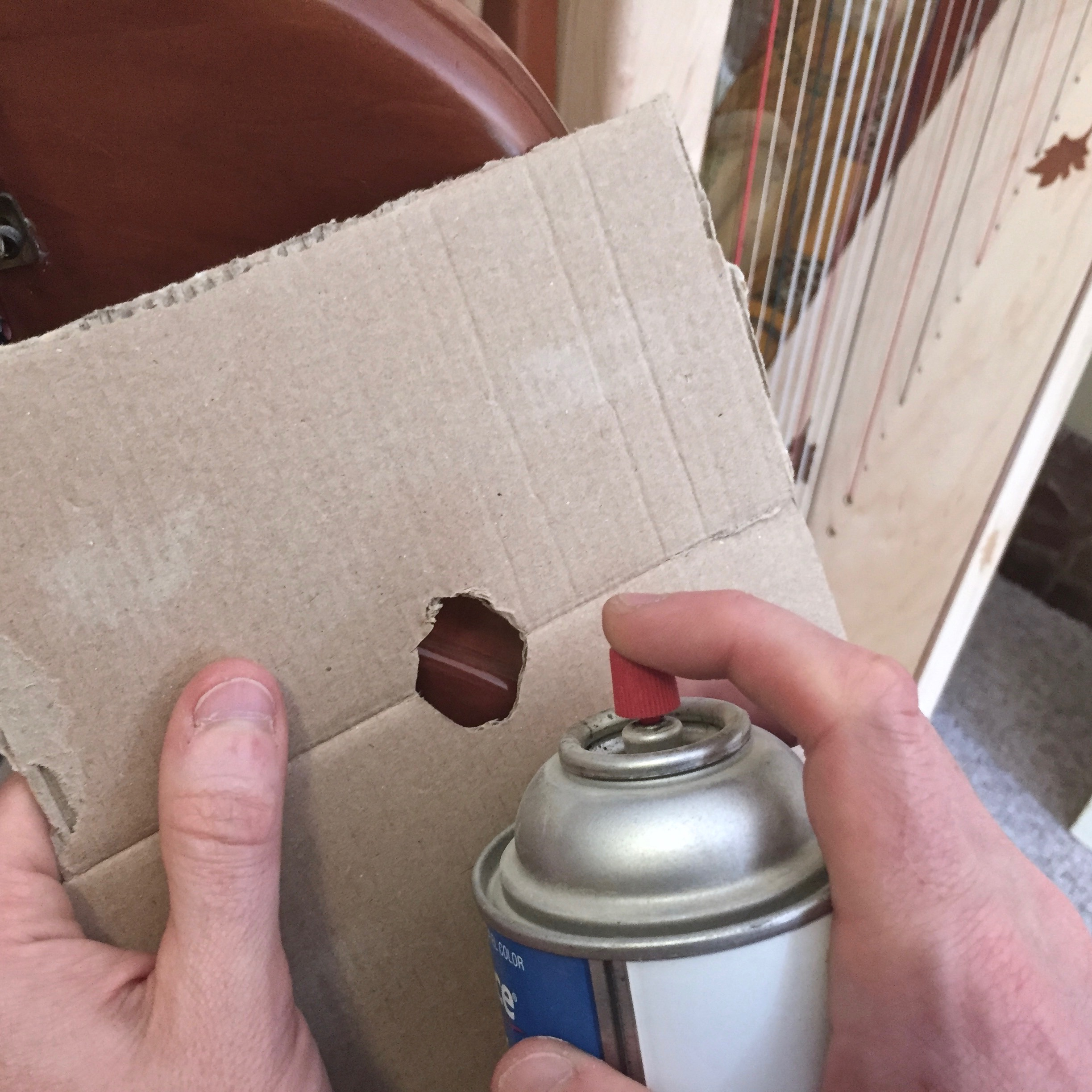 Be sure the hole in the cardboard has an uneven edge. Spray on sever very, very light coats.