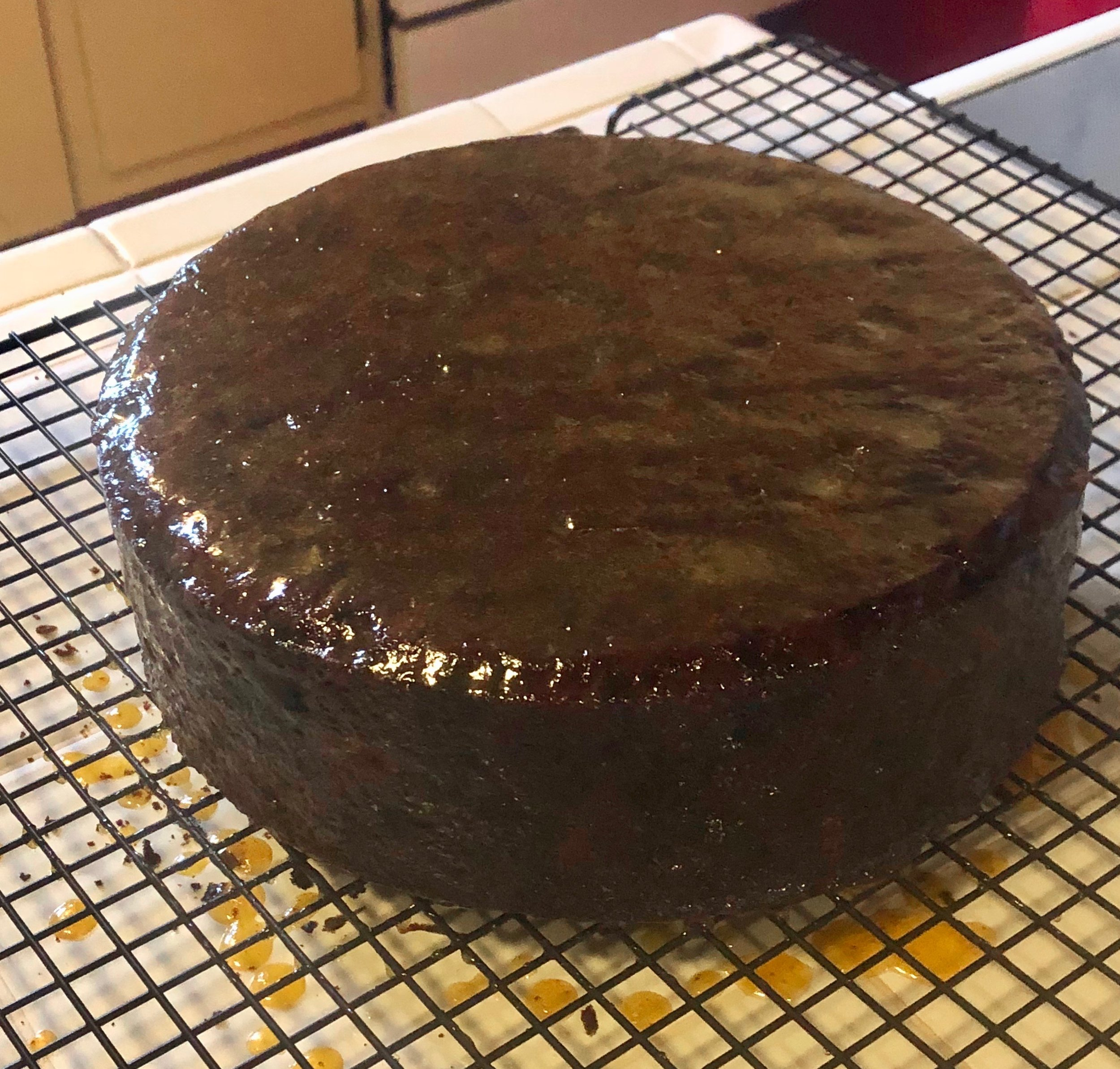 After the glaze has set this luscious fruitcake is ready to go.