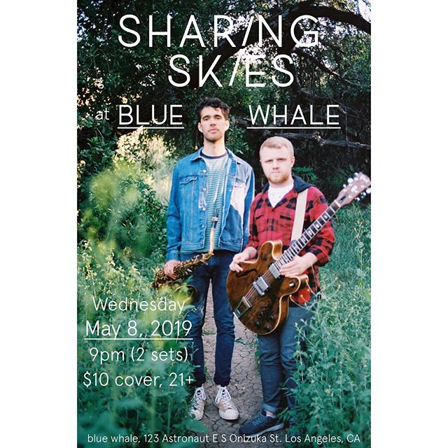 So insanely stoked for @sharingskies to take over my favorite jazz club in LA, the blue whale! Next Wednesday we play two sets of original music with Zev Shearn-Nance on drums. Hope to see you out there!! This one's really special to us! (📷: @thatcherportraits)