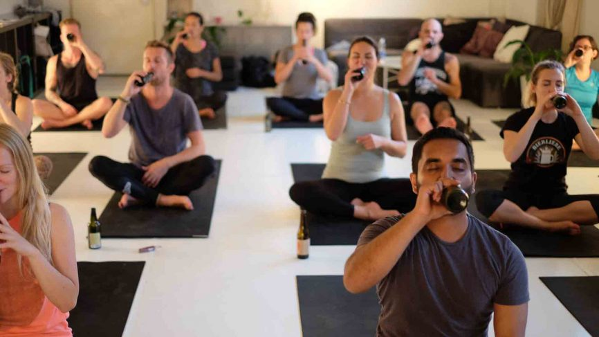 Beer Yoga lovers finding a heightened state of enlightenment with every sip.