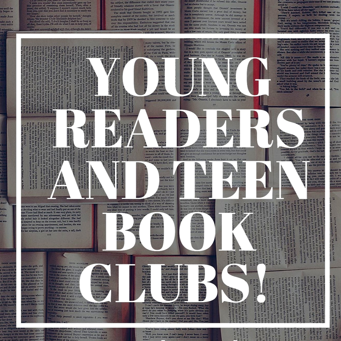 Book Club 2019… - May 30thJuly 25th September 26thYoung Readers Meet at 4pmTeen Readers Meet at 5pm*Gather in the Visitor Center. FREE to join.