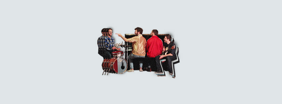 Katzman with fellow Vulfpeck band members in their patented retro art style
