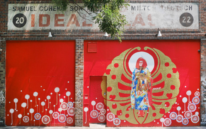 AYAKAMAY - This fantastical mural depicts one of Ayakamay's performance characters: Mimikaki. As a New Age Geisha, she brings ancestral Japanese tradition to the streets by approaching strangers around the world and offering to heal them by cleaning their ears. 2015.
