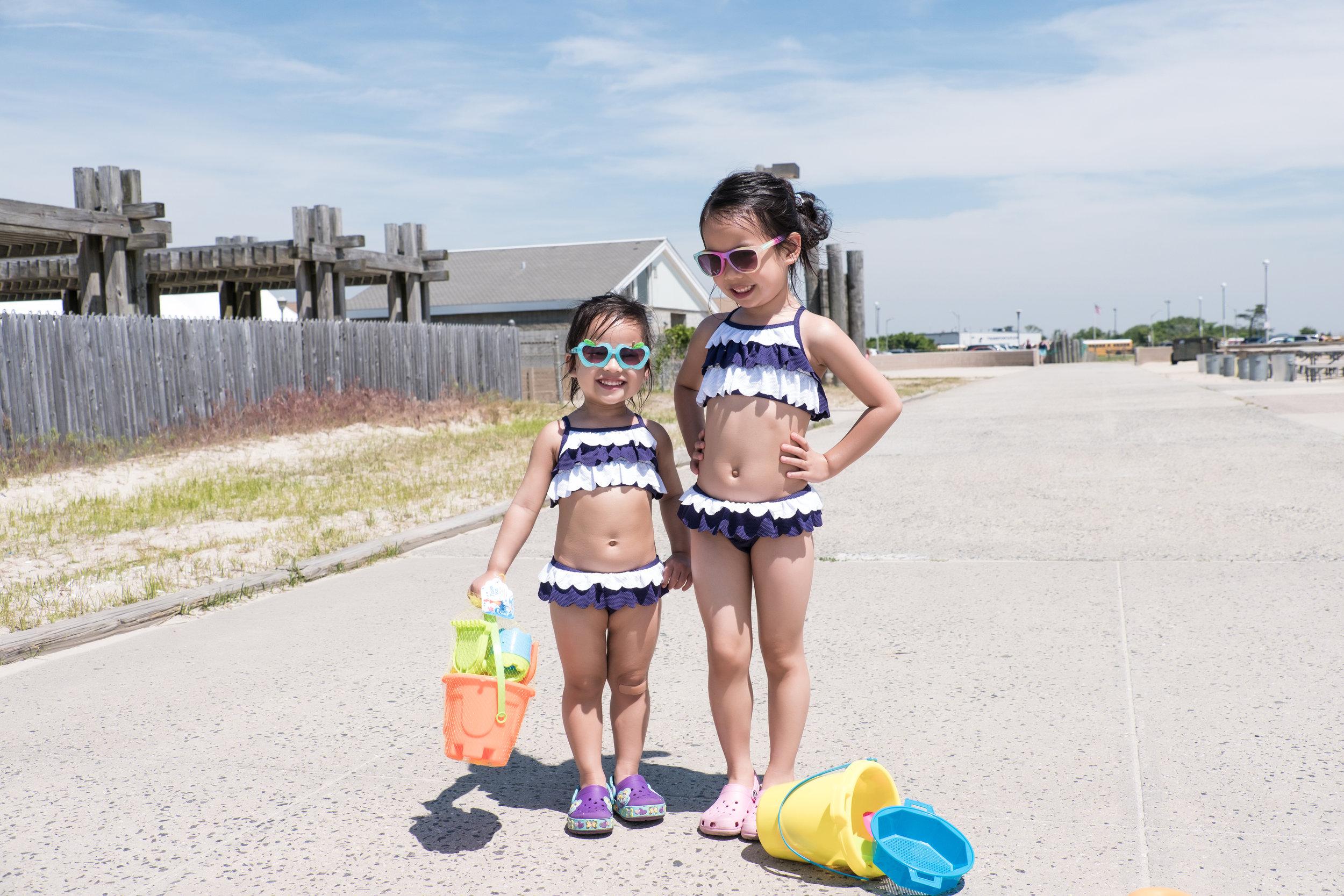 My two girls having a blast during a trip to  Lido Beach, Long Island .