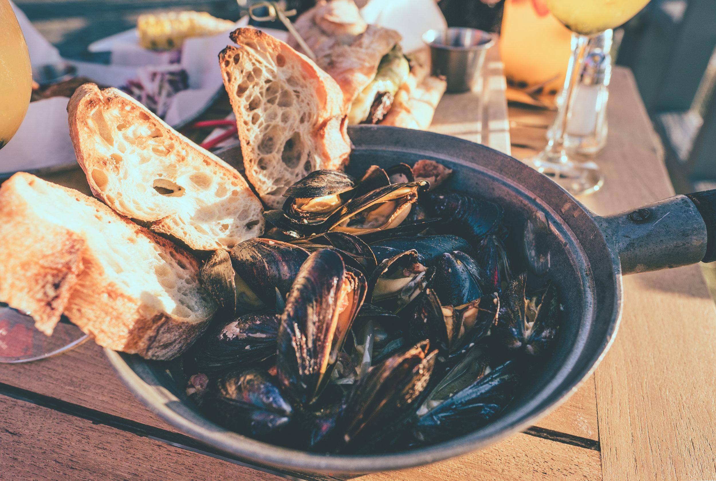 Having some Mussels at  La Marina .