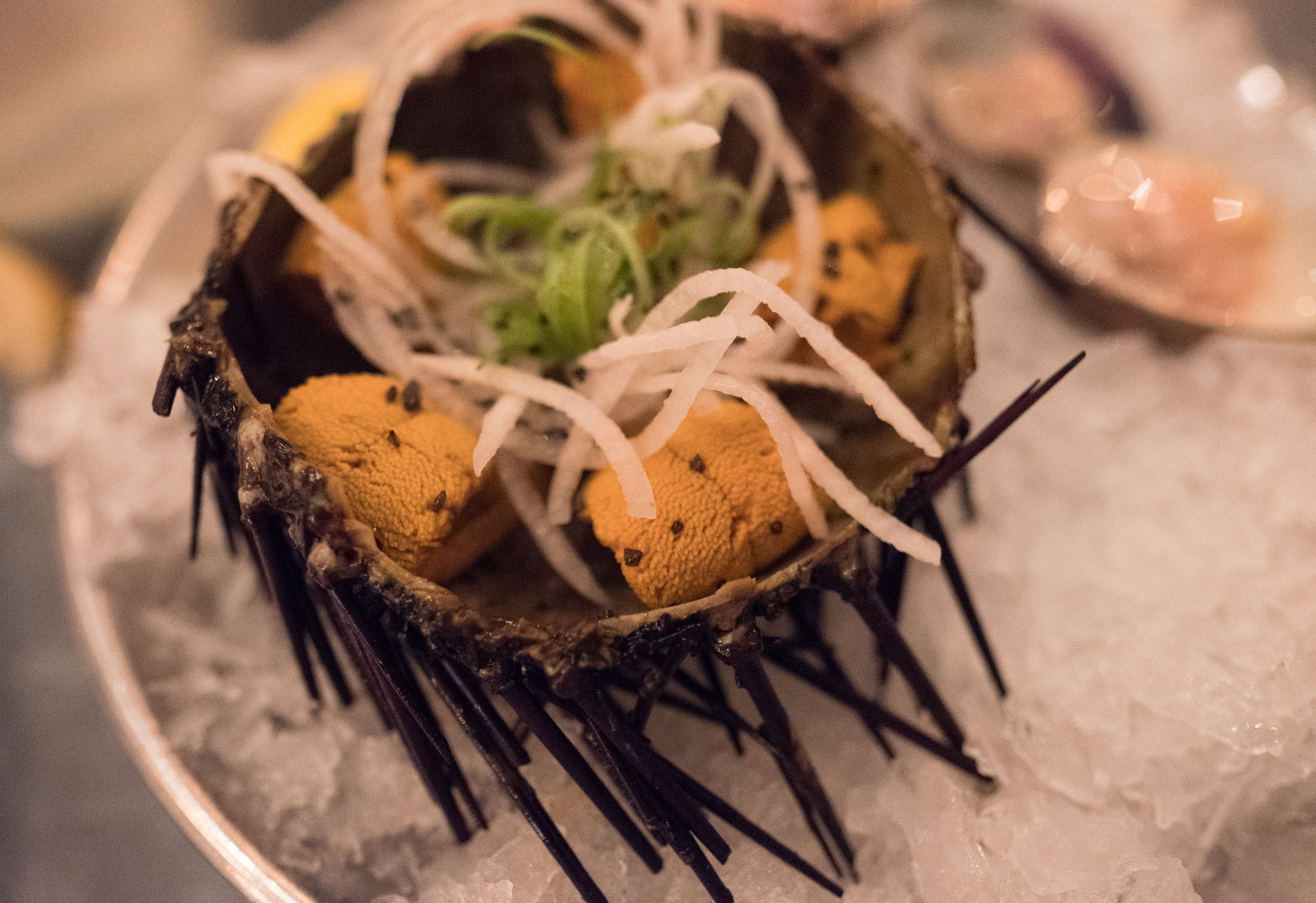 Having some Uni in a half shell at the  Cull & Pistol Oyster Bar .