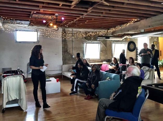 Laura Graziano speaking at East Bay Senior Cannabis Social Club, Oakland CA