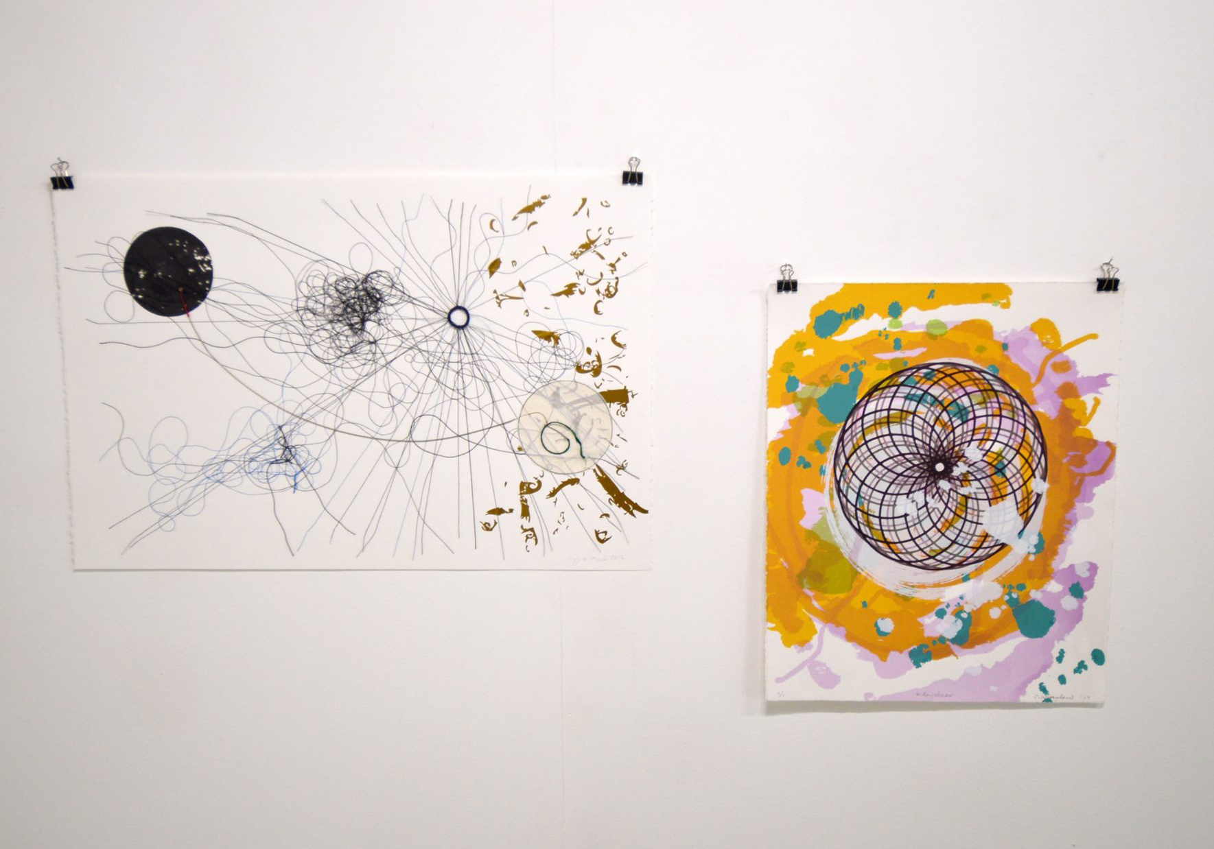 My screenprint on the right, with a piece by Julie Wills