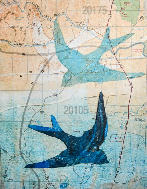 Flight Series #2, Mixed media on panel, 8 x 10