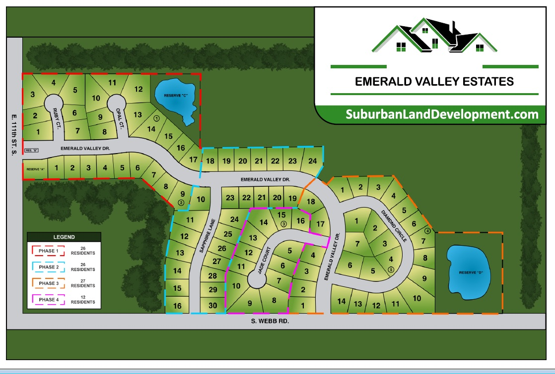 Upon Completion of Phase 1, Emerald Valley Estates will be offering three additional phases of New Home Construction!