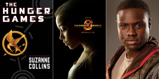 Amandla Stenberg as Rue, Dayo Okeniyi as Thresh in The Hunger Games movie