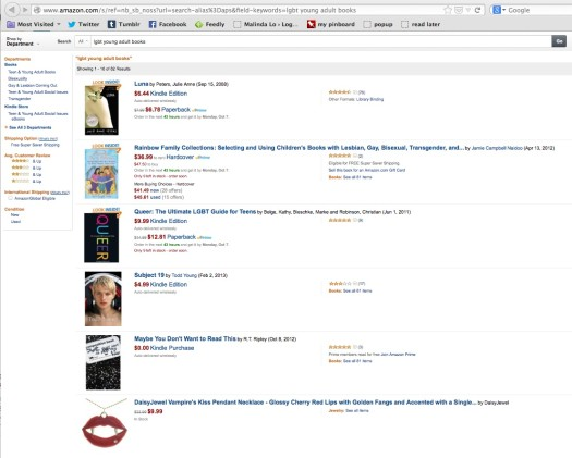 "Screencap of a search on Amazon.com on 10/3/13 at 4:55 p.m. for ""young adult lgbt books"" (click to enlarge)"