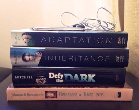 """My creative output in 2013, from top to bottom: Audiobooks of ASH and HUNTRESS, paperback of ADAPTATION, hardcover of INHERITANCE, """"Ghost Town"""" in DEFY THE DARK, """"One True Love"""" in HEIRESSES OF RUSS 2013"""