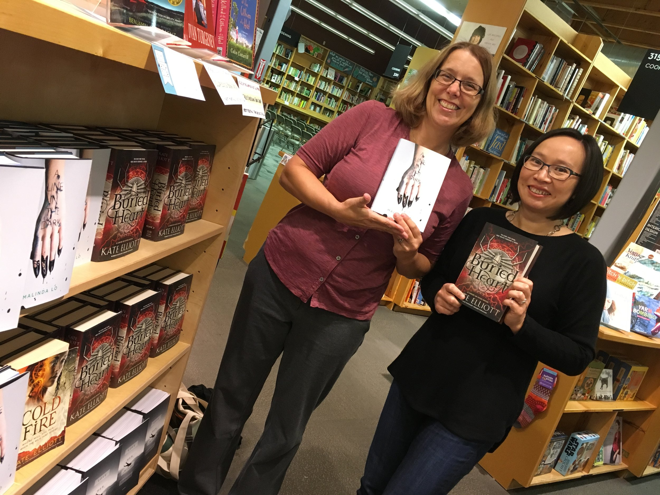 author kate elliott and me at powell's in beaverton, oregon on oct. 20, 2017