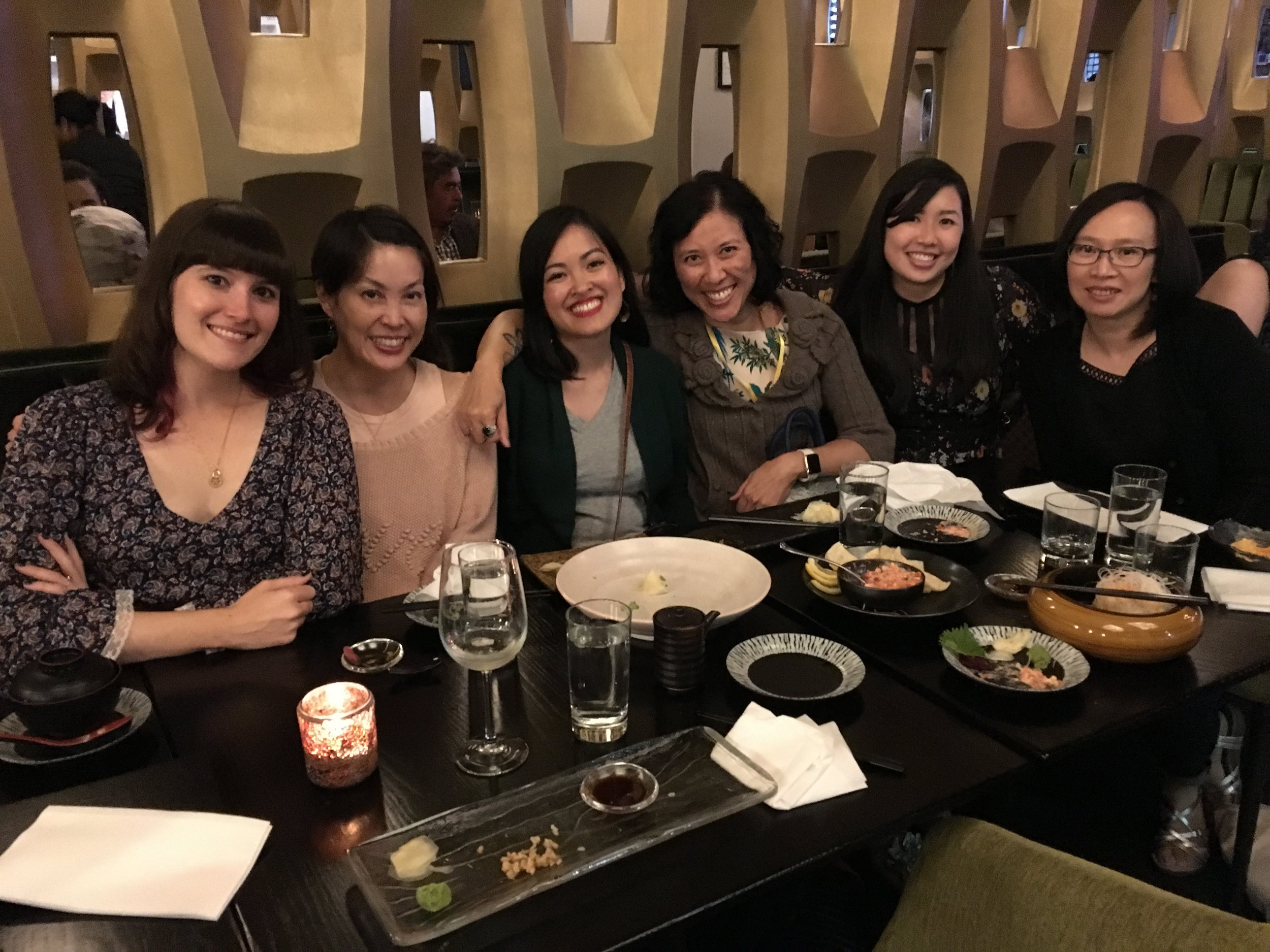 from a meeting of the ya asian mafia on sept. 23, 2017. Left to right: tara sim, stacey lee, julie dao, cindy pon, traci chee, and me.