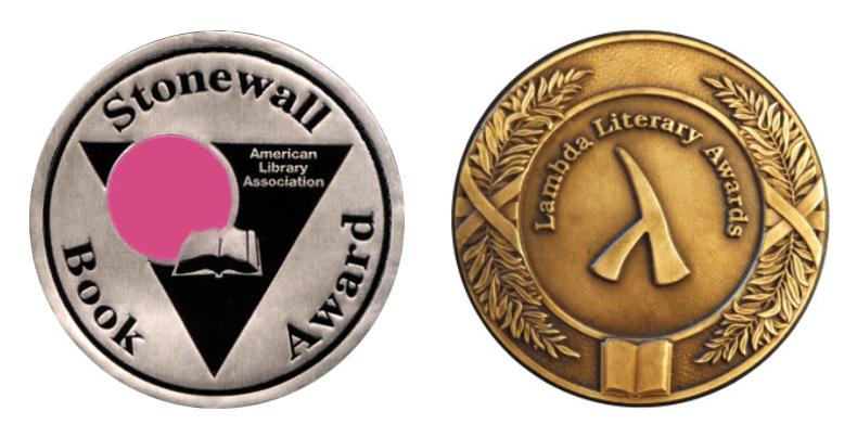 LEFT: The Stonewall book award medal. Right: the lambda literary award medal.