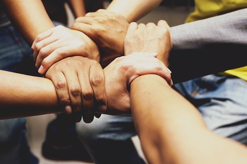 Diverse hands forming a circle to represent hard work and collaboration.jpg