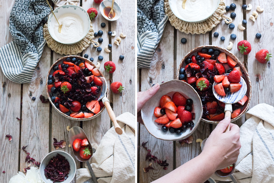 How to make vegan Hibiscus Poached Berries with Cashew Cream - The Little Plantation
