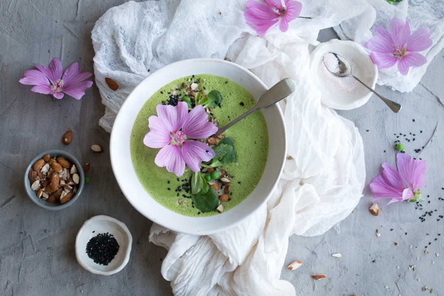How to make pea and mint soup with almond dukka - The Little Plantation