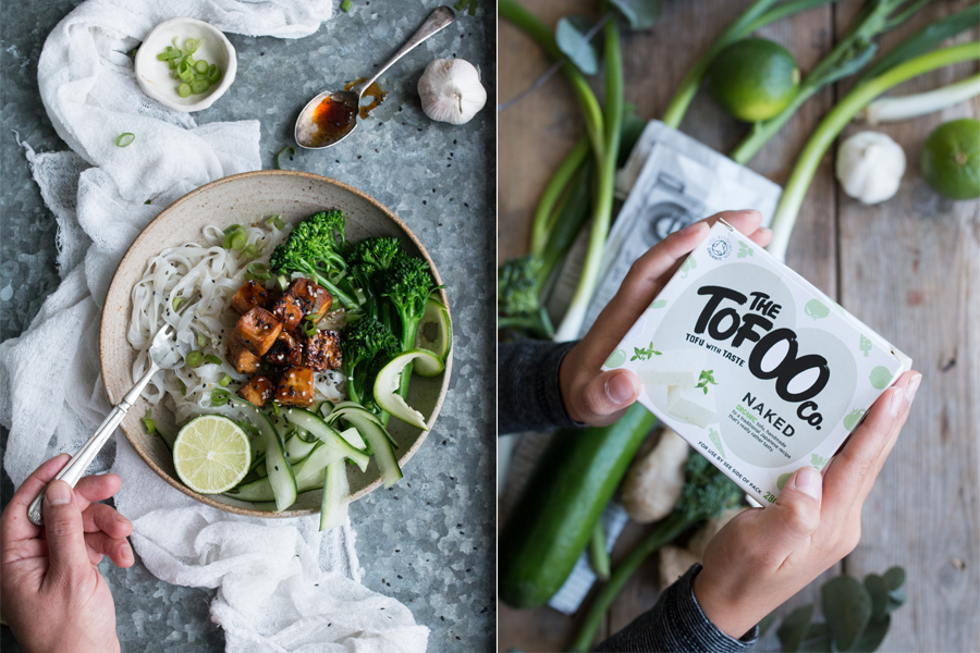 How to make vegan tofu teriyaki with rice noodles - The Little Plantation
