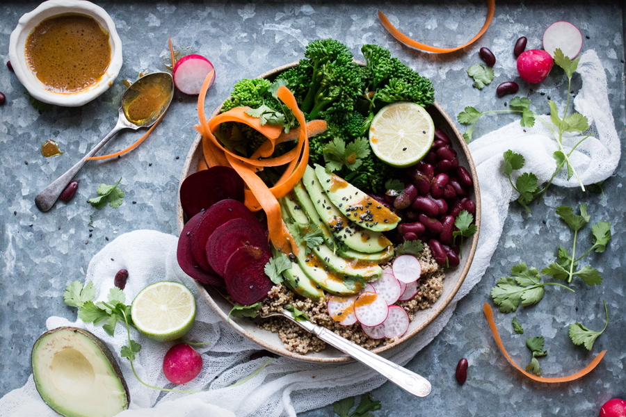 vegan yogi bowl with quinoa - The Little Plantation