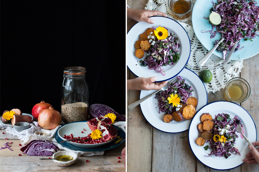 How to make red cabbage salad with sweet potato wedges - The Little Plantation