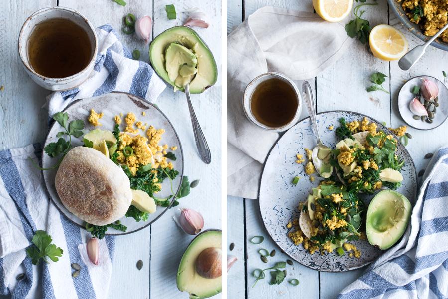 Vegan Tofu Scramble with Kale - The Little Plantation