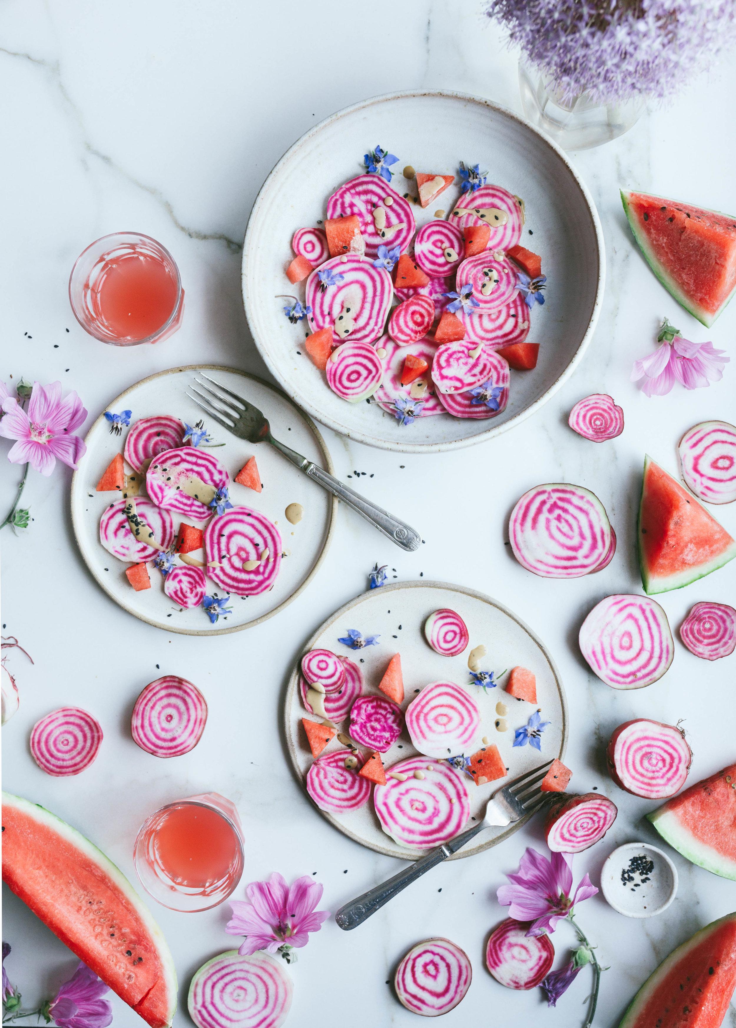 Watermelon beetroot summer salad+ Nourish Atelier cookbook giveaway - The Little Plantation