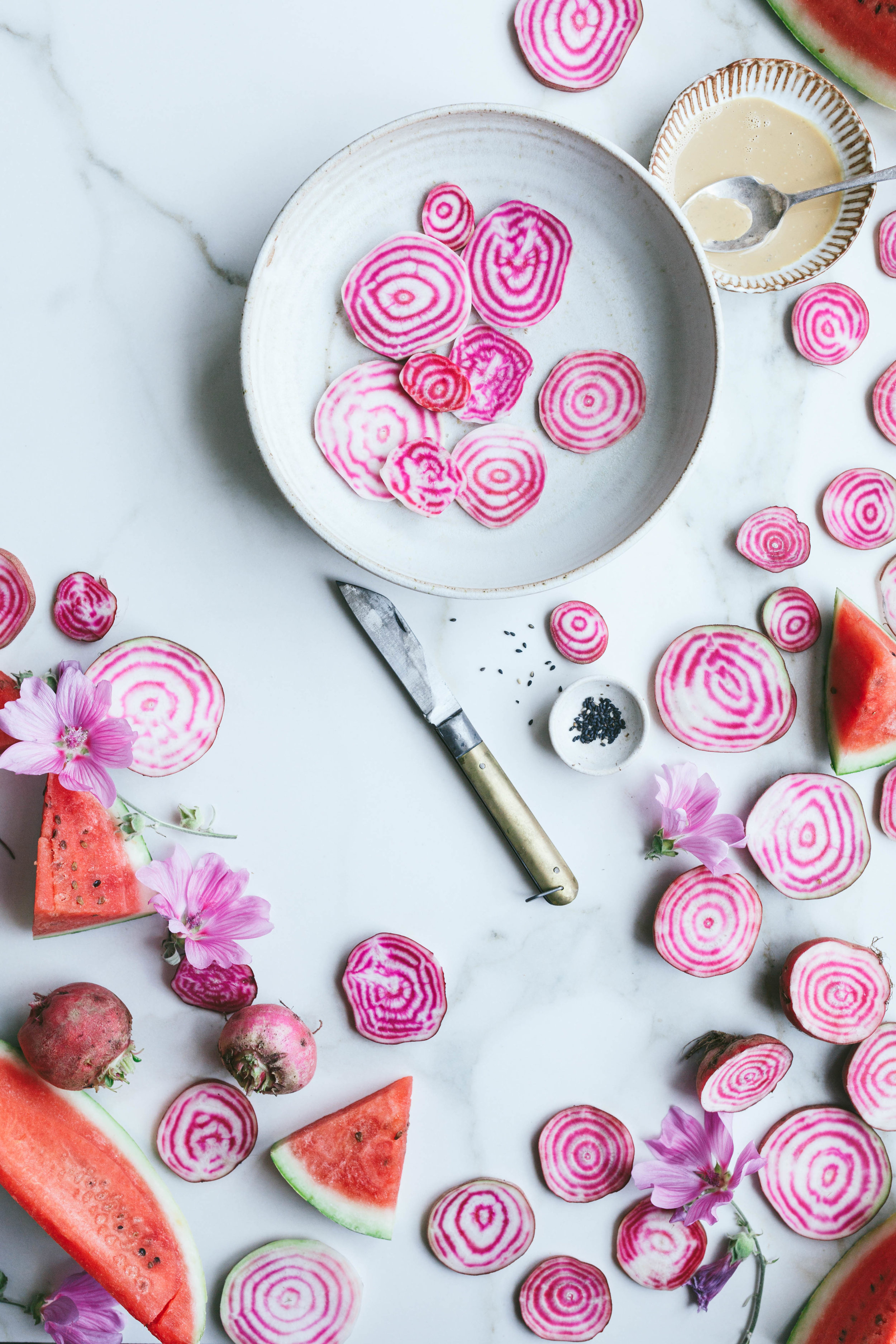 Watermelon and candy beetroot salad recipe - The Little Plantation