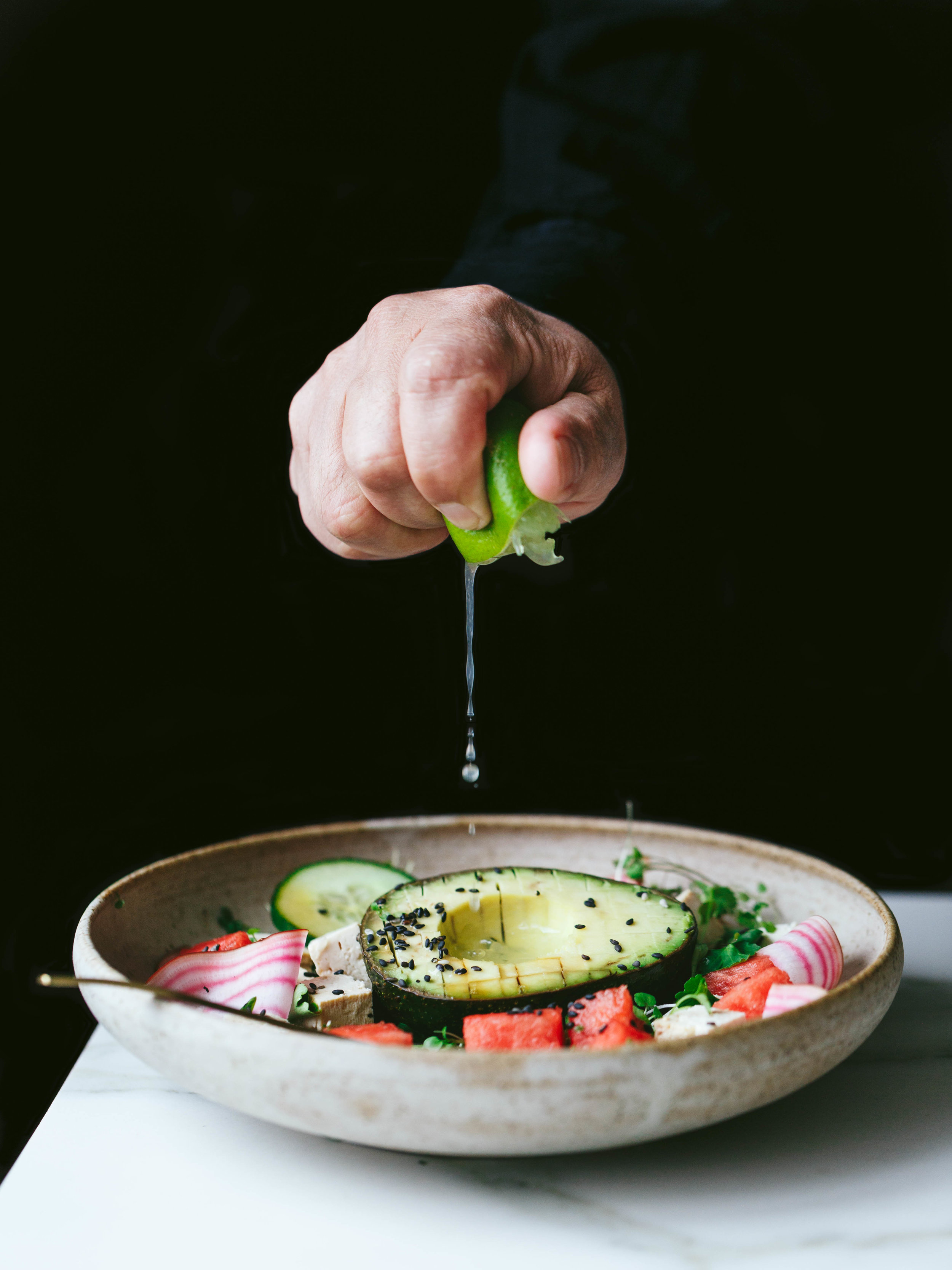 Vegan tofu avocado salad recipe - The Little Plantation