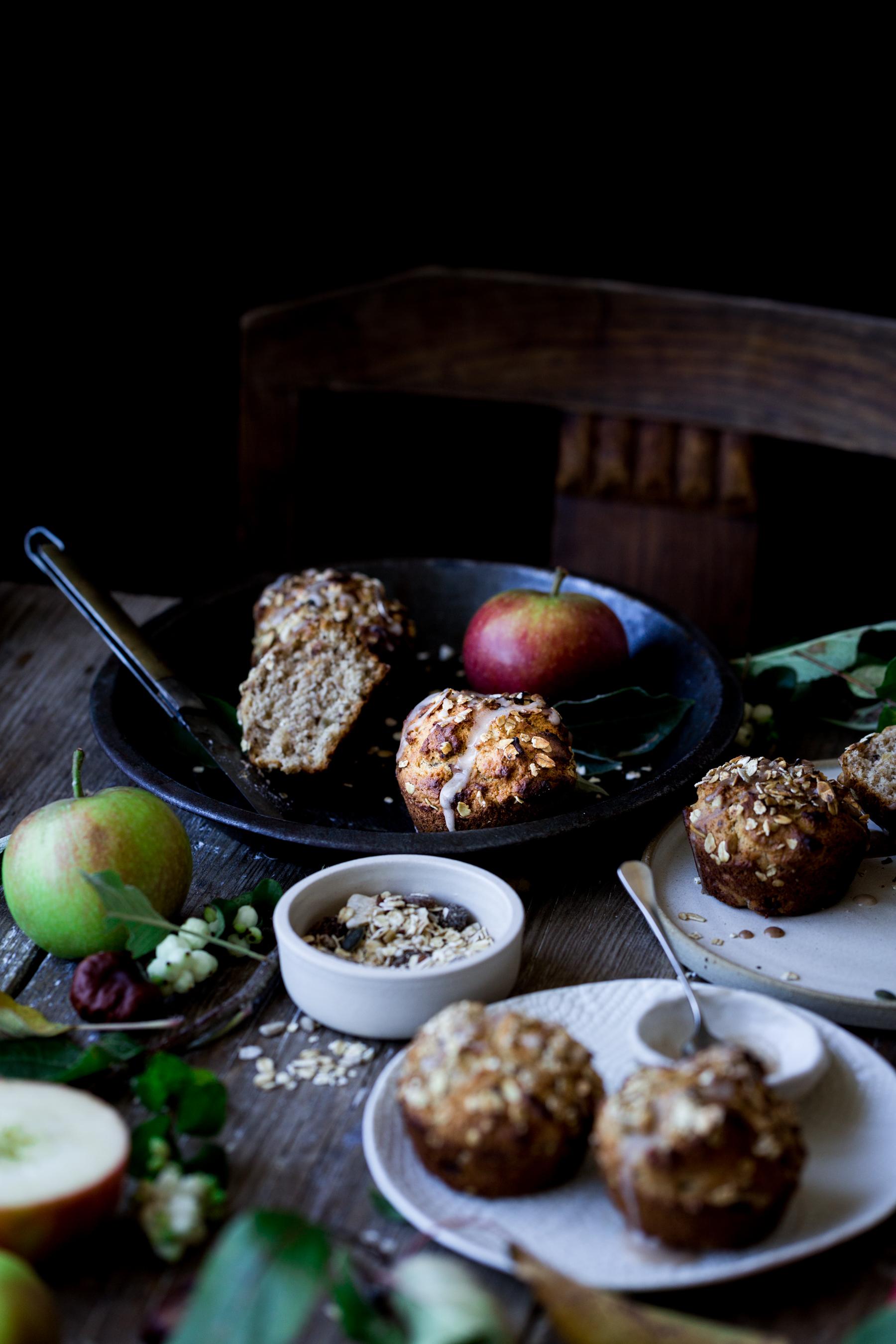 Vegan apple muesli muffin recipe for Deemuesli - The Little Plantation