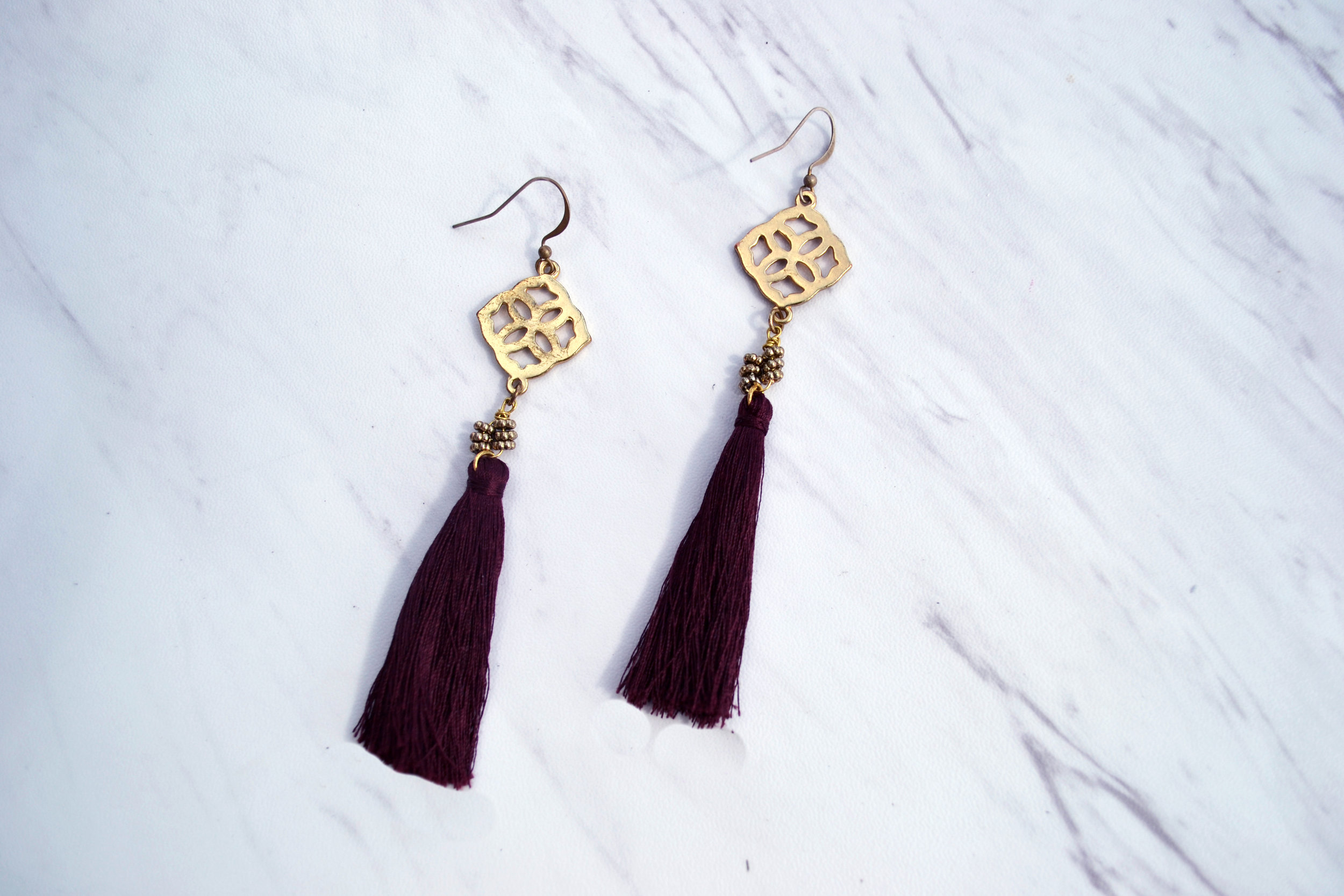 E N Z O $35 Handmade. Color: Burgundy 21mm 18k gold plated short fish hook. Nickel-free. Please   contact me   for other color combinations