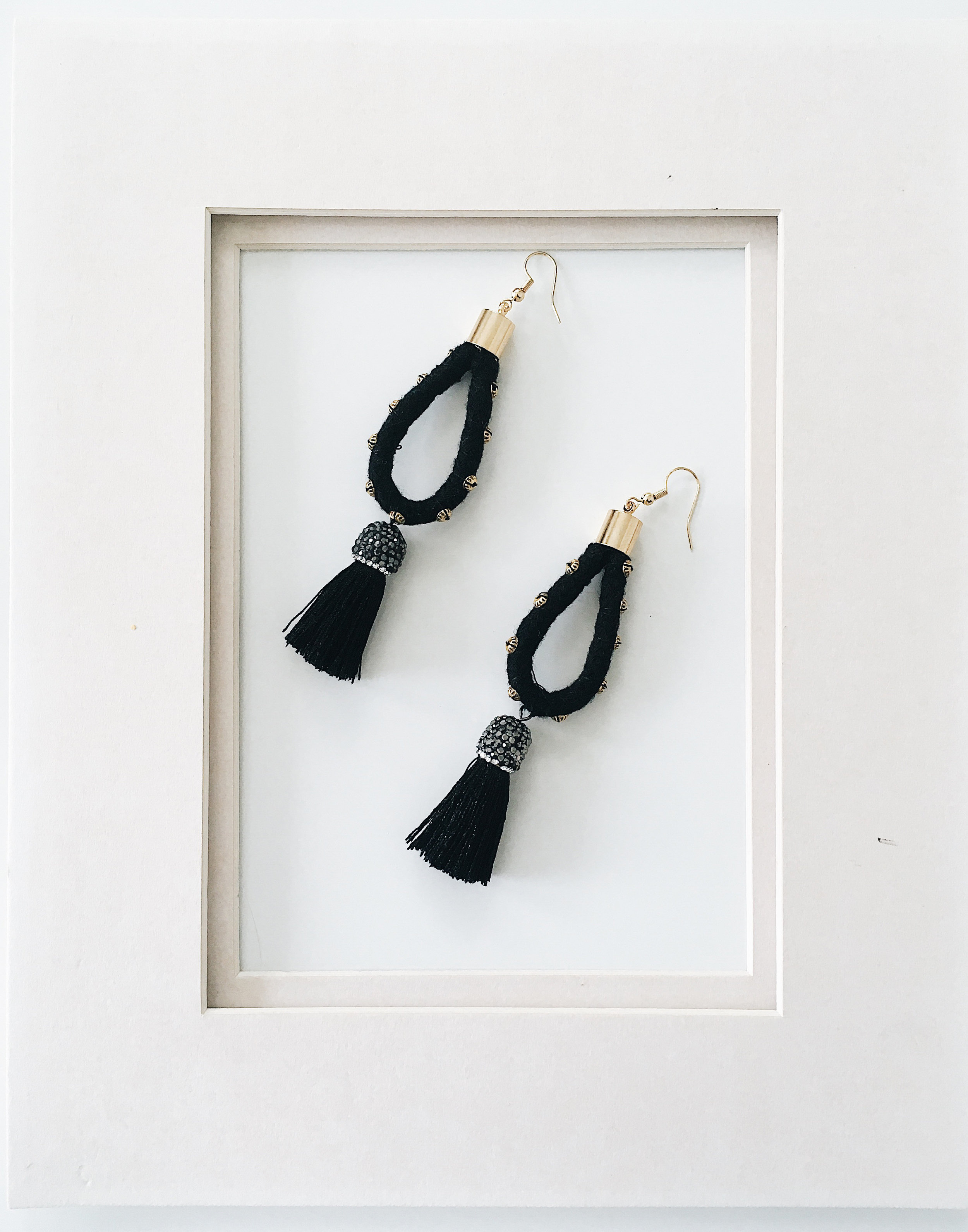 "STELLAR IN BLACK $35 18k Gold plated ear hooks + Cotton Rope + Thread + Shiny cap tassels + Gold bead details 3.5"" long"
