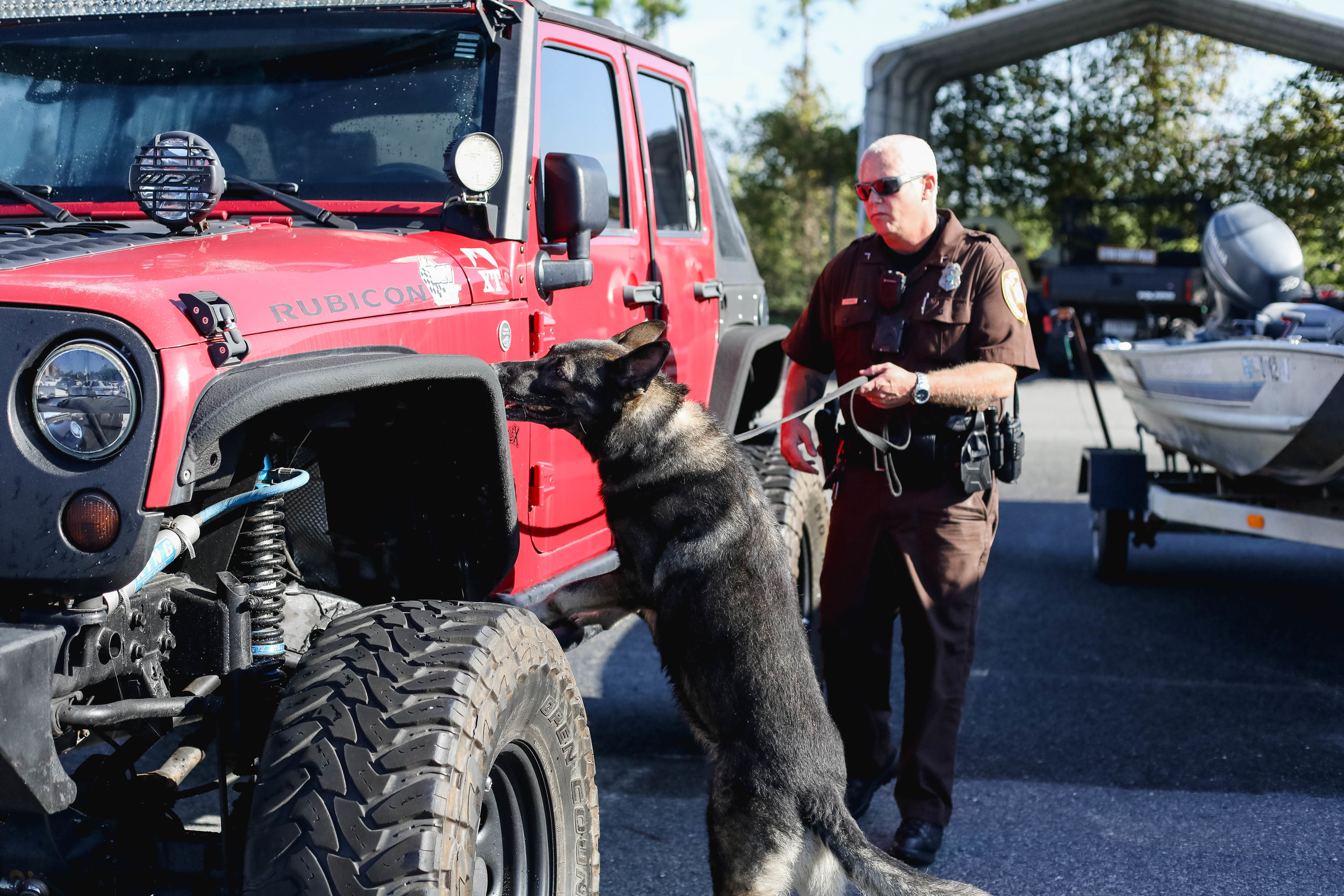 K9 Grey & Officer Scott Browning demonstrate how they search for drugs