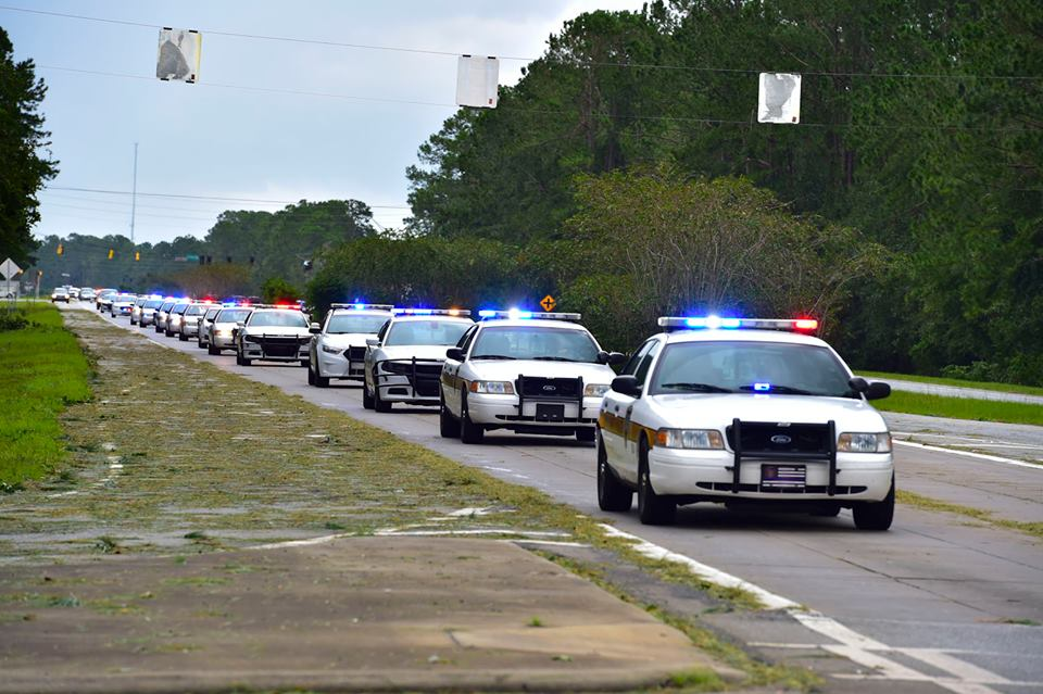 A photo taken from the FLETC Headquarters Facebook page of the Glynn County Police Department heading out to ensure the safety of our residents after the storm. Photo: David Tucker