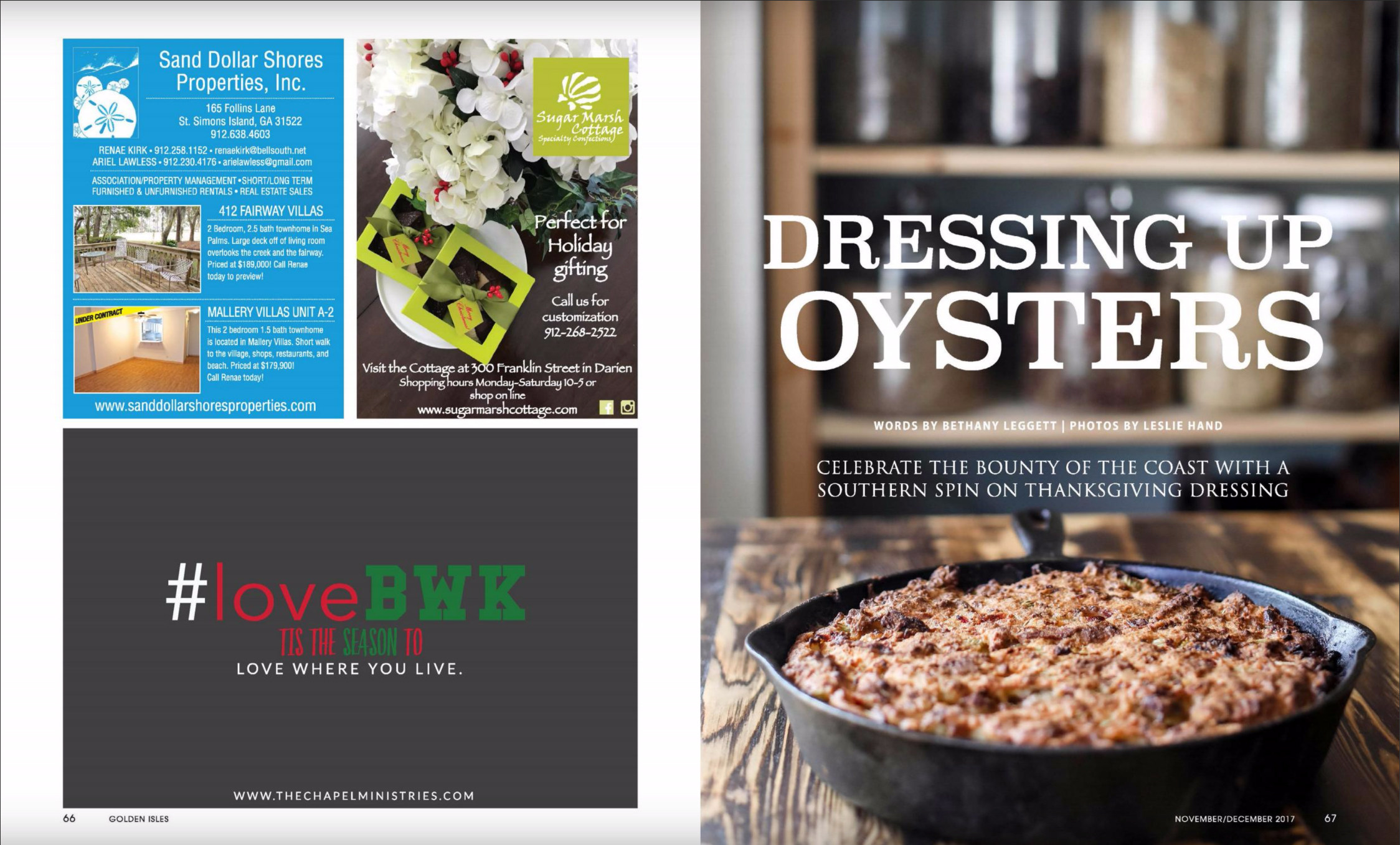 Magazine spread featuring oyster dressing crafted by Chef Matthew of the Farmer and the Larder in Brusnwick, GA