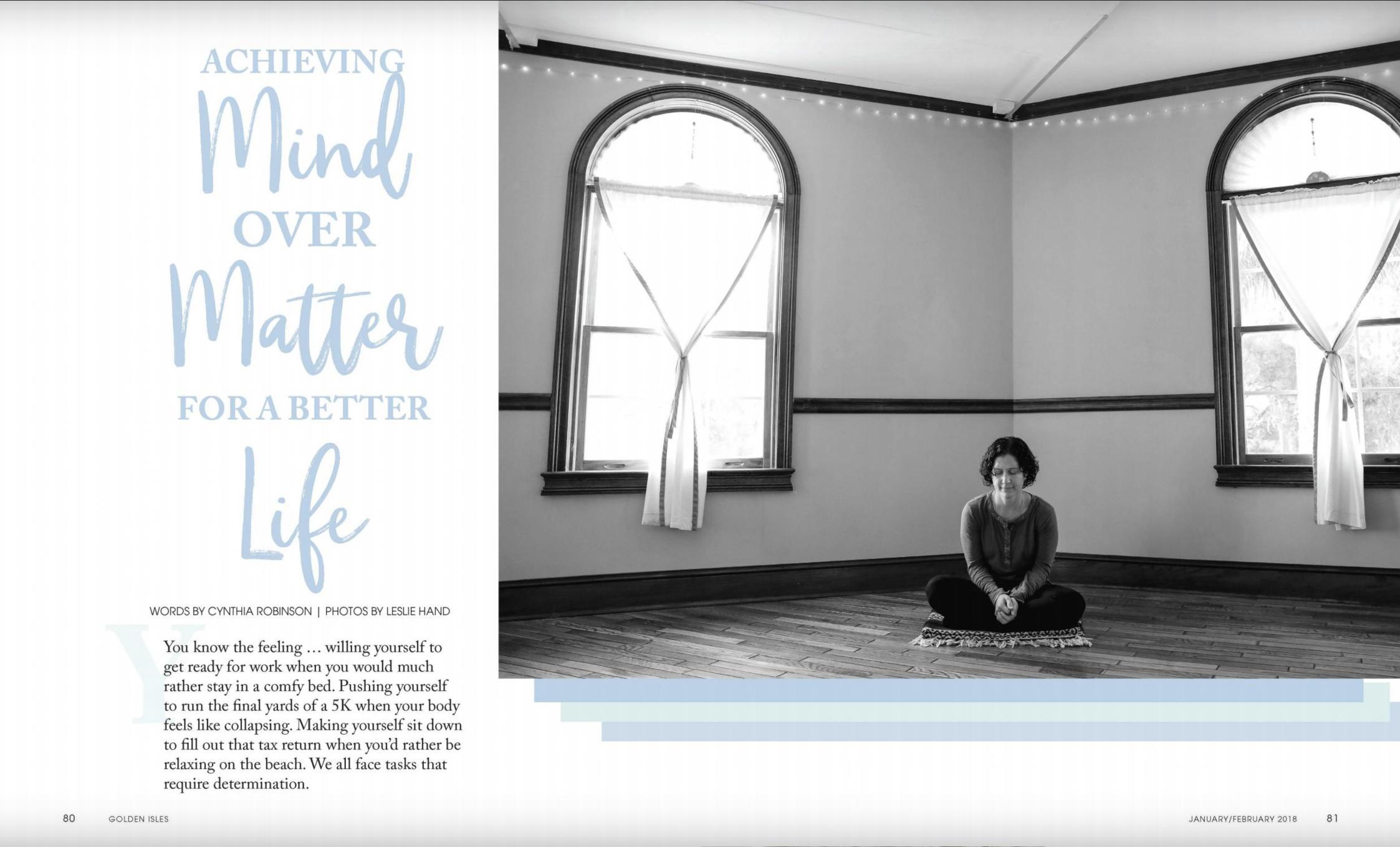 An instructor meditates in the yoga room at Balance Studio on St. Simons Island, GA