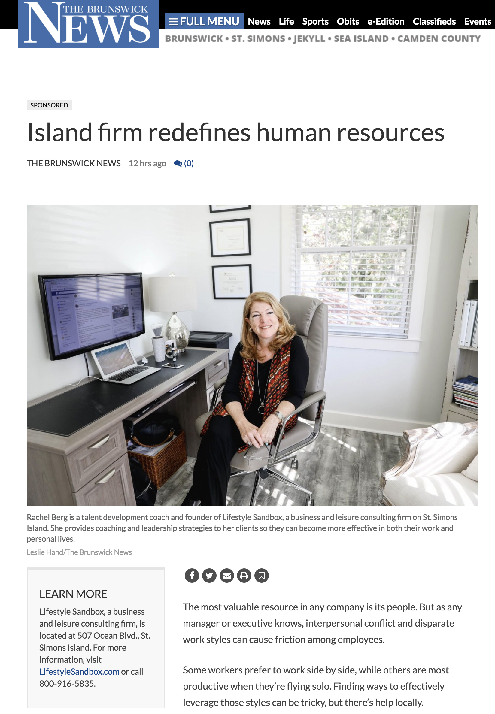 Rachel Berg of Lifestyle Sandbox sits at her computer in her office