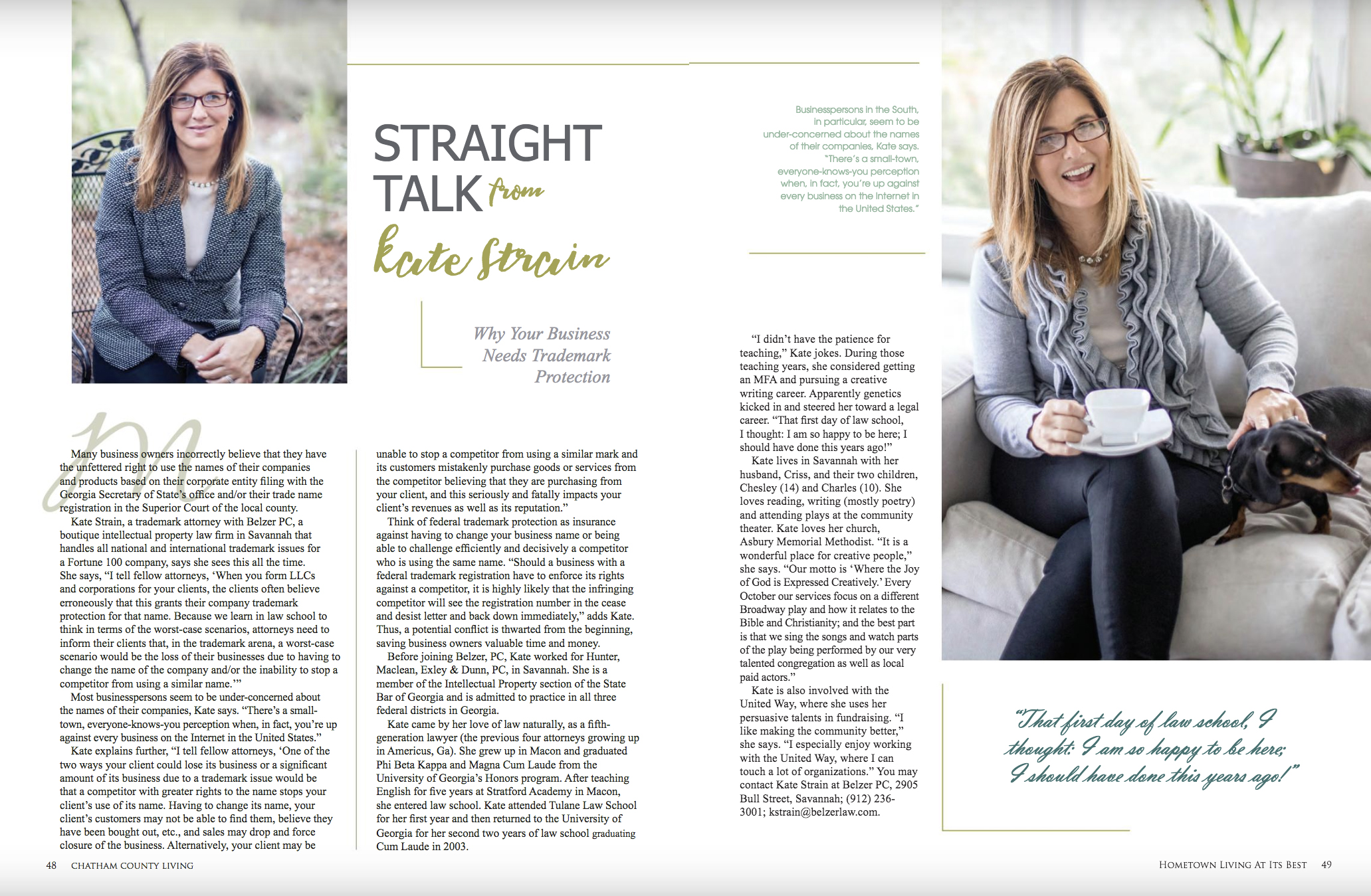 Kate Strain Chatham County Living Fall 2018 Advertorial